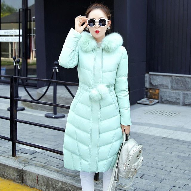2016 Down Parka Winter Jacket Women Cotton Padded Thick Long Coat  Fur Collar Hooded Female Jackets For Woman jmsj02