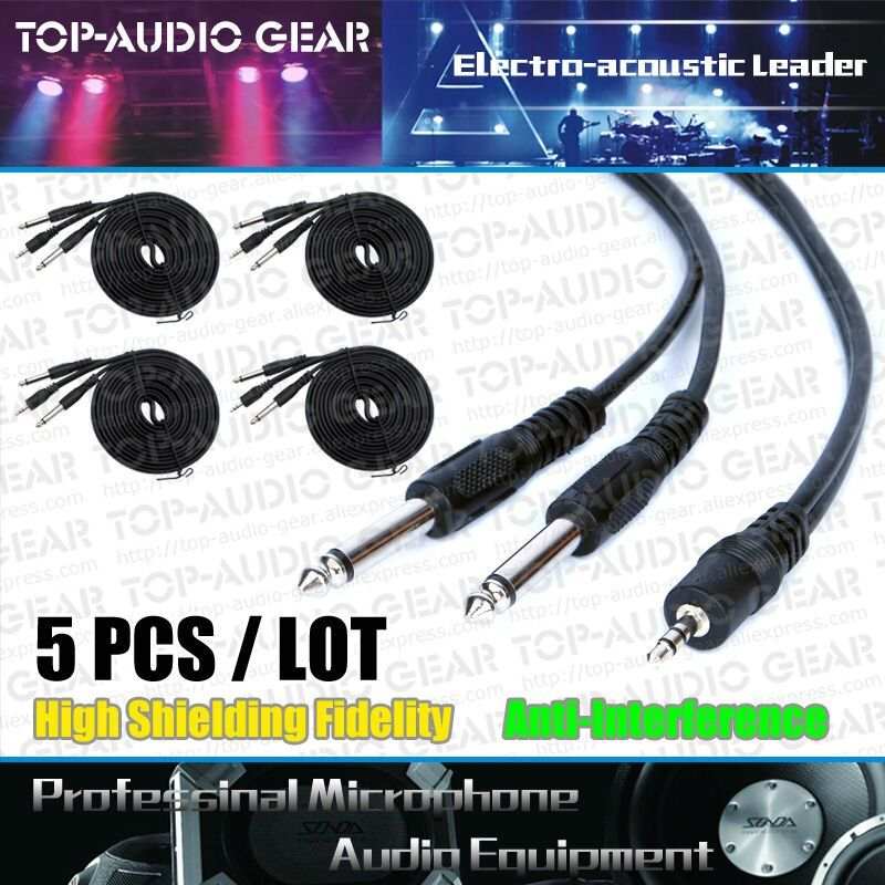 Free Shipping 5pcs/Lot 4.9ft 3.5 to Double Dual Two 6.3 6.5 mm Jack Audio Line Wire Cord Audio Video Signal Cable Mixer Cables