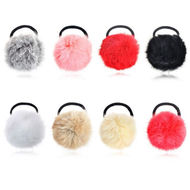 3 Pcs New Artificial Rabbit Fur Ball Elastic Hairbands Rope Ponytail Holders Women Girls Headband Headwear Hair Accessories Gift