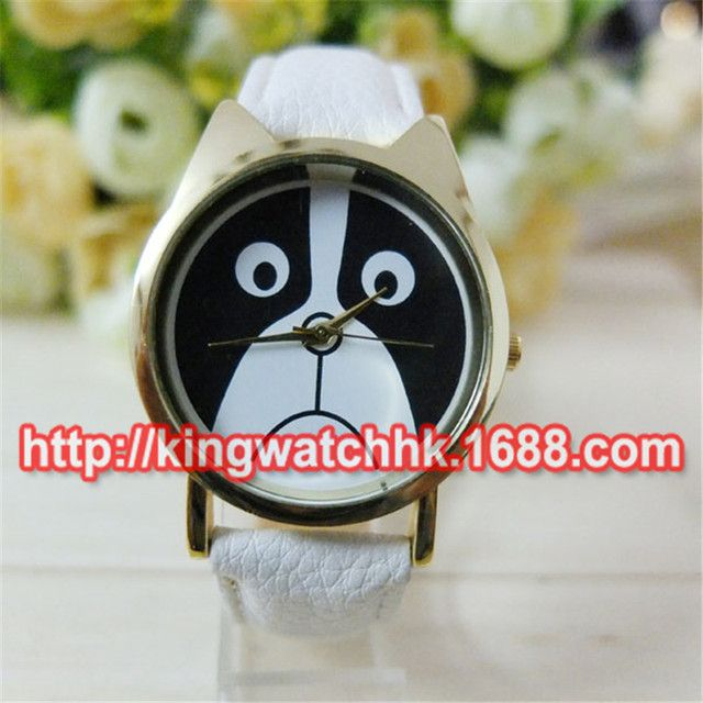 2015 Cute Dog Leather Watches Sad Doggy Watch for Ladies Women Quartz Waterproof Watches 100pcs/lot