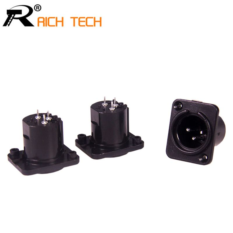 3PCS 3pin XLR male plug plastic panel mount connector
