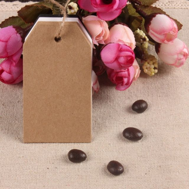 "4*7cm Clothing Jean Brown Event Black Kraft Paper Price Tag 1.57""x2.75"" 200Pcs/ Lot Blank DIY Craft Paper Cut Bookmarks Hang Tag"