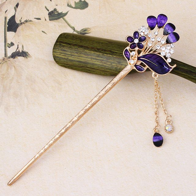 Flowers Vintage Women Tassels Hair Stick Step Shake Chain Hair Stick Pins Hairpins Hair Accessories