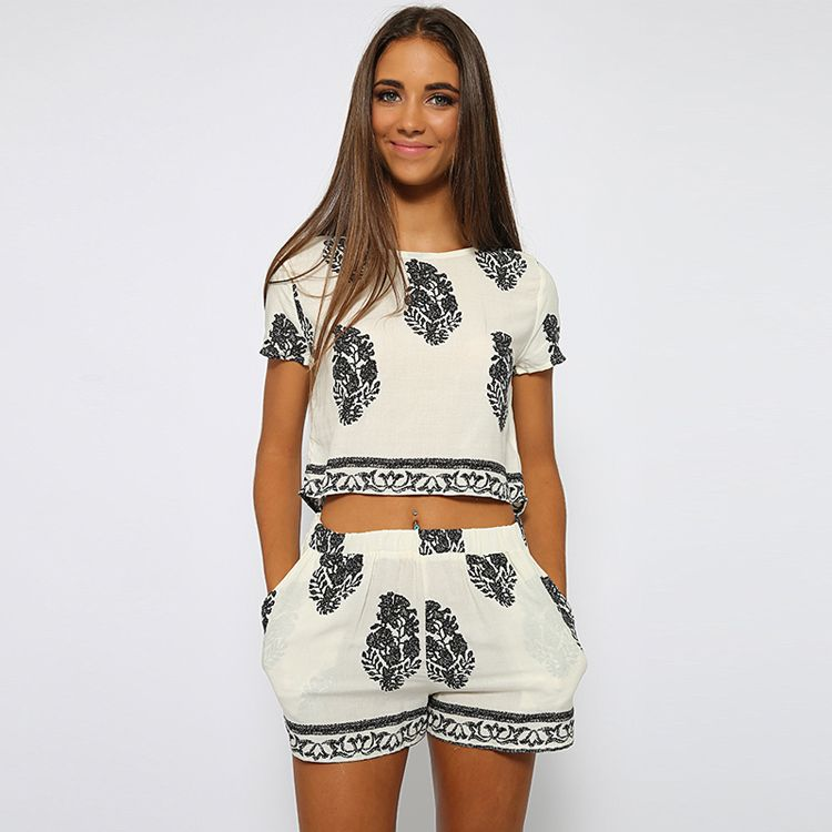 Women Two Piece set Print Short Sleeve Blouse + Romper Shorts New Fashion Lady sets 63