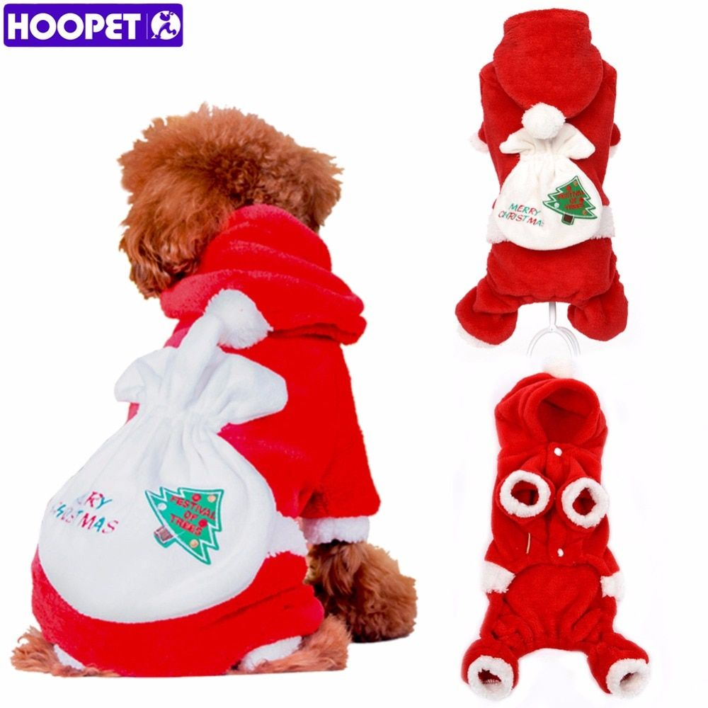 HOOPET Pet Dog Clothes Christmas Suits Soft Santa Claus Costume Outwear Coat Polar Fleece Winter