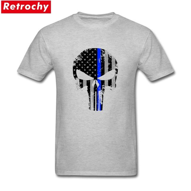 Cotton Short Sleeves US Flag Punisher Skull Tees Youth Chest Printed Male Crew Neck Frank Castle Skeleton T-shirt Brand Clothing