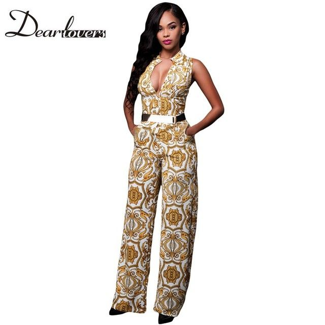 Dear lover Elegant Office Jumpsuit Long White Yellow Tapestry Print Belted Overalls For Women Mono Lujer Largo Casual LC64195