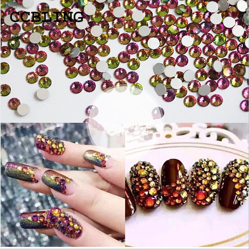 Best Rhinestones ss3-ss30 Crystal Rainbow decorations for 3d Nail Art, Flat Back Non Hotfix Glue on 3d Nail Art  or diy bead