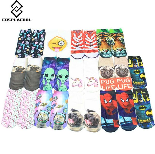[COSPLACOOL]Multiple Colors Harajuku Style 3D Socks Women Alien/Pug Print Meias Casual Socks Unisex Low Cut Ankle Socks Sokken