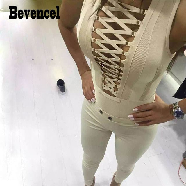 Bevencel 2016 new women jumpsuit sleeveless V neck full length hollow out sexy bodycon party bandage jumpsuit