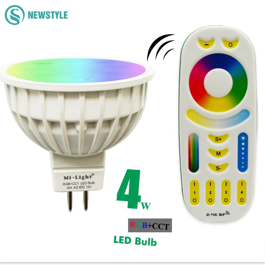 AC/DC12V 4W 2.4G Wireless Milight Dimmable Led Bulb MR16 RGB+CCT Led Spotlight Smart Led Lamp+ LED Remote