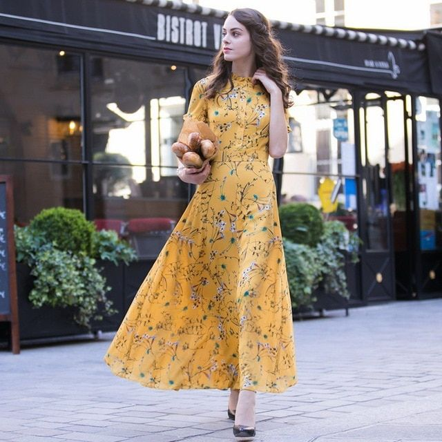 XXXL Chiffon Long Dress 2017 Summer Style Women Little Floral Print  Short Sleeve Casual Party Plus Size Long Maxi Dress Yellow