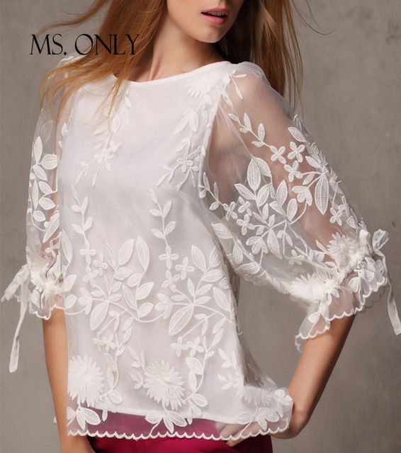MS. ONLY Brand Elegant White Embroidery Floral Pattern Chiffon Blouse Women See Through Ruffle Lace Tie Half Sleeve Shirt B175