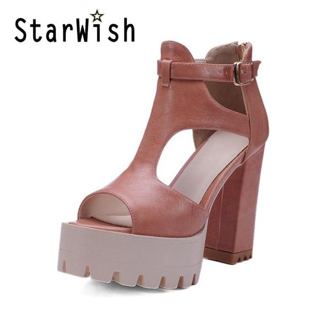 2017 Gladiator Sandals Women Summer Classics Square High Heels Ladies Platform Buckle Shoes Woman Sexy Zipper Casual Pumps Shoes