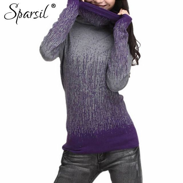 Sparsil Women Autumn & Winter Cashmere Blend Sweater Turtleneck Gradient Color Design Pullover Sweater Plus size S-XXL