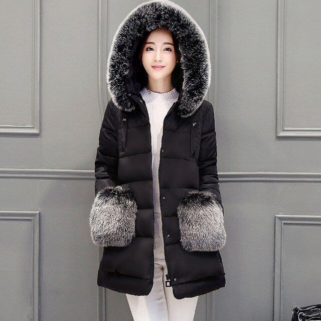 2016 Winter Down Jacket Long Loose Coat Women Winter Parka Large Size Thick Manteau Femme Luxury Fur Collar Pocket Coats