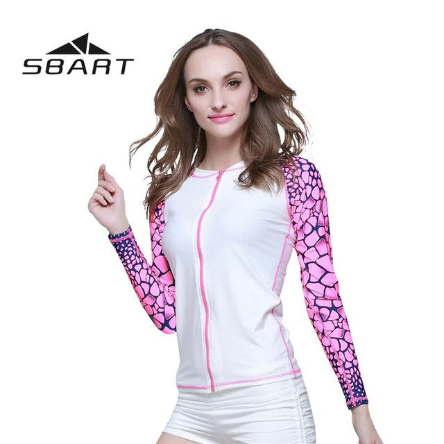 SBART Women Anti-Ultraviolet Quick-Dry Long Sleeve UPF50+ Wetsuit Diving Kite Surfing Swimming Rashguard Outdoor Sport Swimsuit