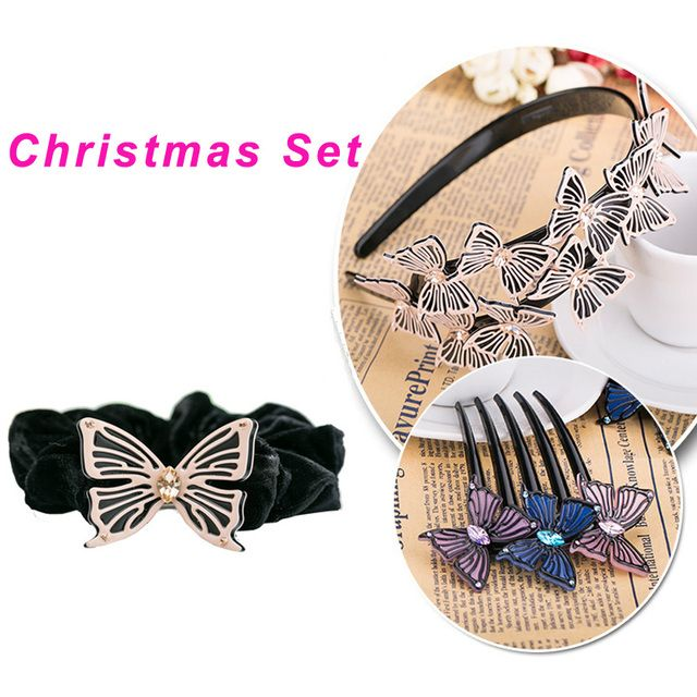 2016 New Arrival Dakee Girls Hair Accessories Fashion Butterfly Hair Accessories Hair Bands Hair Combs Hairropes Set For Women
