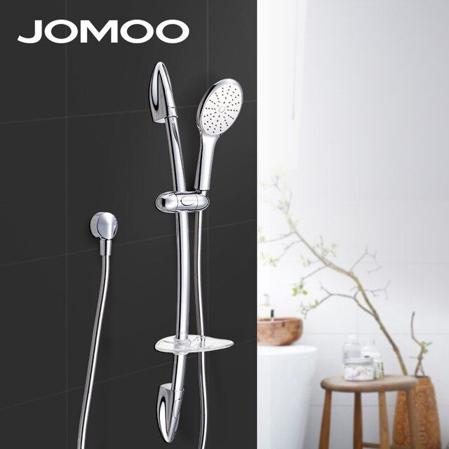 JOMOO Bathroom Shower Set Brass Chrome Wall Mounted Water Saving Shower Head Nozzle Aerator With Slide Bar Shower Hose Soap Dish
