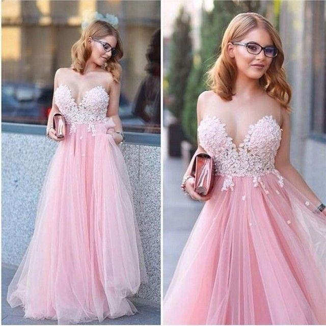 Sheer Scoop Sweetheart Appliques Pink Tulles Long Prom Dress Sexy A Line Floor Length Formal Party Evening Gowns Dresses Vestido