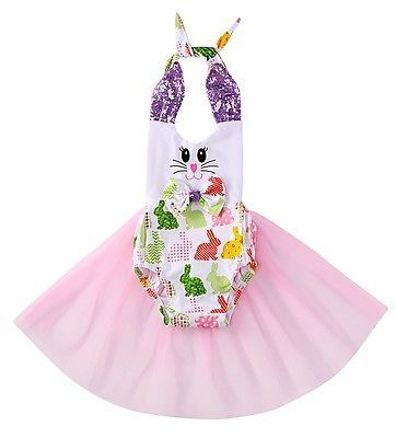 Newborn Baby Girls Bunny Rompers Prop Tulle One-piece Sunsuit Clothes Baby Clothing Costume