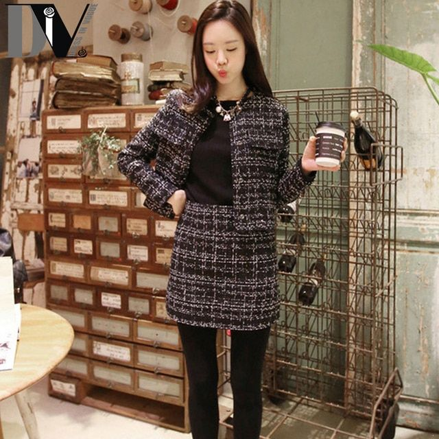 DIV Slim Elegant Casual Suits For Women High Quality Tweed Jacket+Zipper Closure Plaid Skirt Suits Femme 2 Piece Outfit