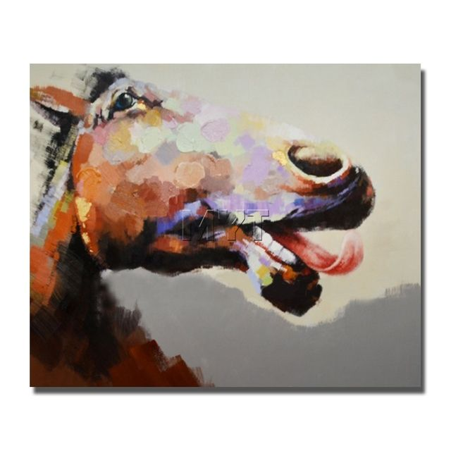 Funny animal face oil painting decorative horse head wall hanging decoration dropship for wholesale