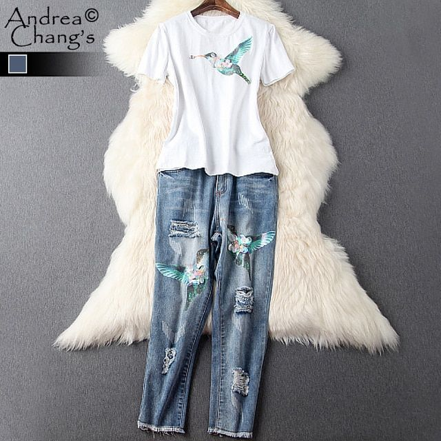 spring summer runway designer womens clothing set white t-shirt blue jeans denim pants holes beaded flower bird print cotton set