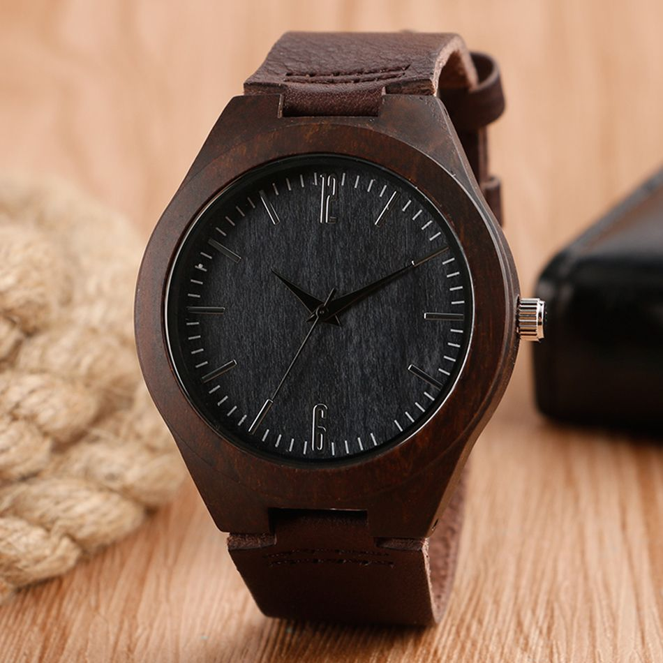 Creative Bamboo Wooden Watch Minimalist Modern Nature Wood Genuine Leather Band Strap Men Novel relogio de pulso de madeira
