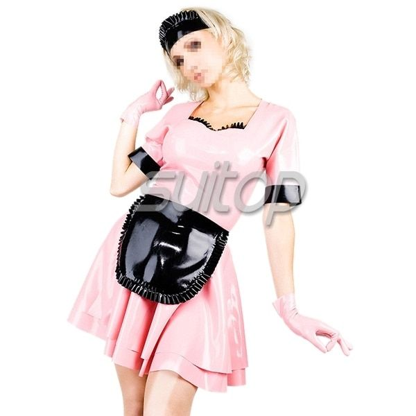 Suitop  rubber latex double-deck maid dress latex fashion wearing