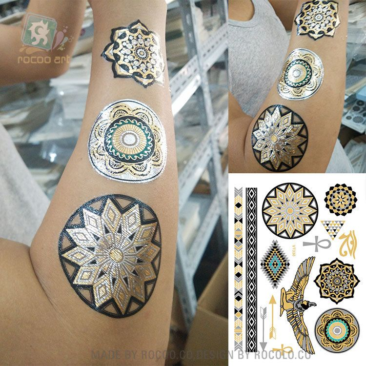 body art painting tattoo stickers Metal gold silver temporary flash tattoo eagle Disposable indians tribal tattoos VT338