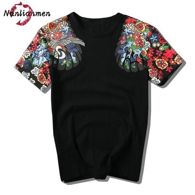 2017 Limited Summer New Japanese T-shirt Men O-neck Short Sleeve Cotton Brand Clothing Funny Male Crane Printed Tee Big Size