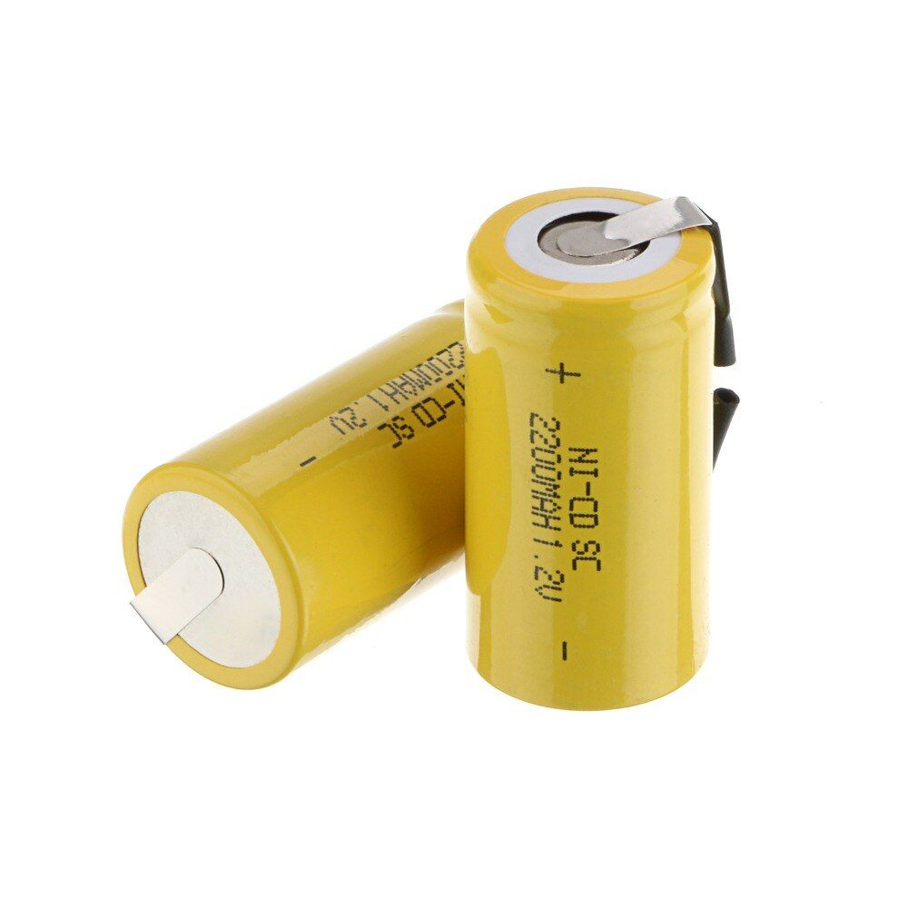 2018 Russia popular 4 PCS Sub C SC 1.2 V 2200 mAh Ni-Cd yellow color Rechargeable Battery