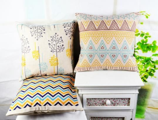 45*45 cm Home Decor Retro Vintage Tree Chevron Geometry Cotton Linen Cushion Cover  capas de almofada