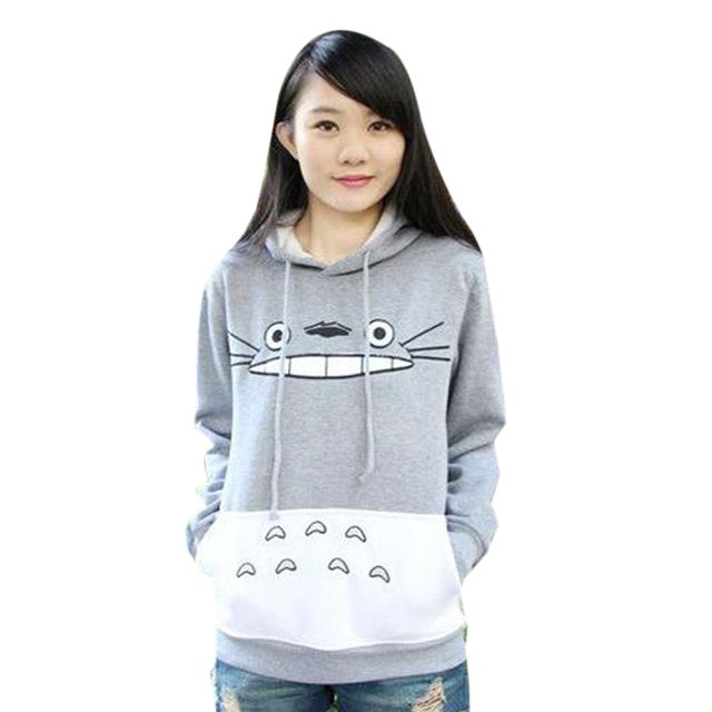 Harajuku Style Women Sweatshirt Cartoon Totoro Animal bts Casual Hoodie Spring/Autumn Outside Pullover Loose Long Sleeve Tops
