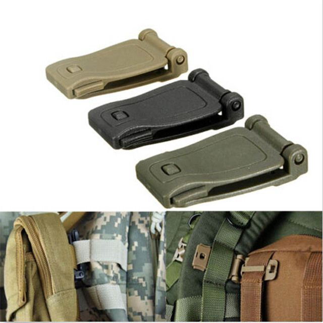 1 PCS Practical Molle Strap Buckle Backpack Bag Webbing Connecting Buckle Clip 26mm Black/Khaki EDC Tool Accessories