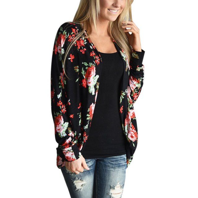 Autumn Women Wrap Cardigans Loose Floral Print Basic Coats Tops Casual Outwear Boho Irregular Long Sleeve Casacos Plus Size S4
