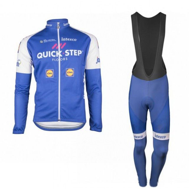 WINTER FLEECE THERMAL 2017 QUICK STEP FLOORS LONG SLEEVE CYCLING JERSEY CYCLING WEAR ROPA CICLISMO+ BIB PANTS 3D GEL PAD SET
