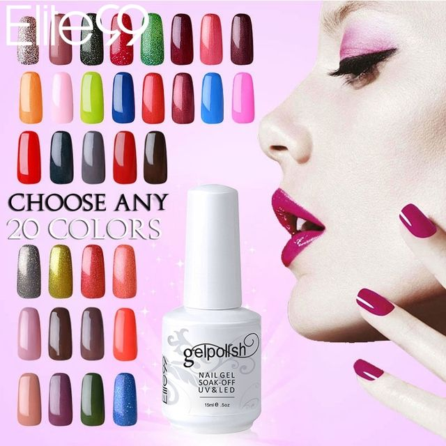 Elite99 15ml Pick 20 Colors Soak off UV Nail Gel Color Polish Professional Long lasting Gel Nails Polish Varnish Drop Shipping