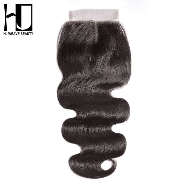 HJ WEAVE BEAUTY Lace Closure Brazilian Body Wave Remy Hair Natural Color 100% Human Hair Middle Part 4''x 4'' Free Shipping