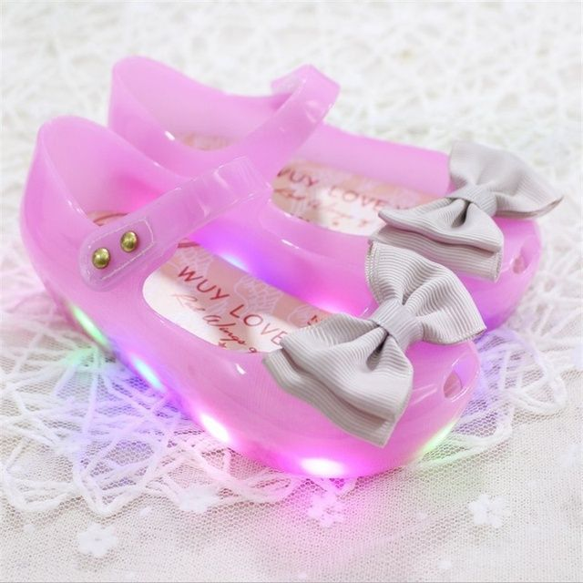 HOT sale 2017 New Arrivals mini melissa High Quality LED Light Girls Sandals Princess Bow Kids Jelly Shoes LED Flash Antiskid