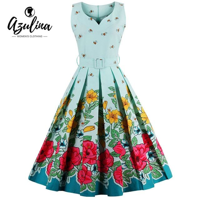 AZULINA Plus Size 4XL 3XL Vintage Women Summer A Line Dress Sleeveless O Neck Floral Flower Print Retro Casual Elegant Vestido