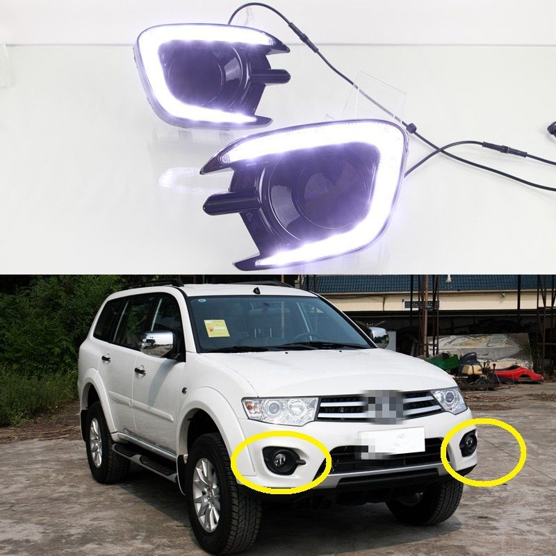 1 Set Daytime running lights LED DRL Driving Fog Lamp for Mitsubishi Pajero Sport 2013-2015