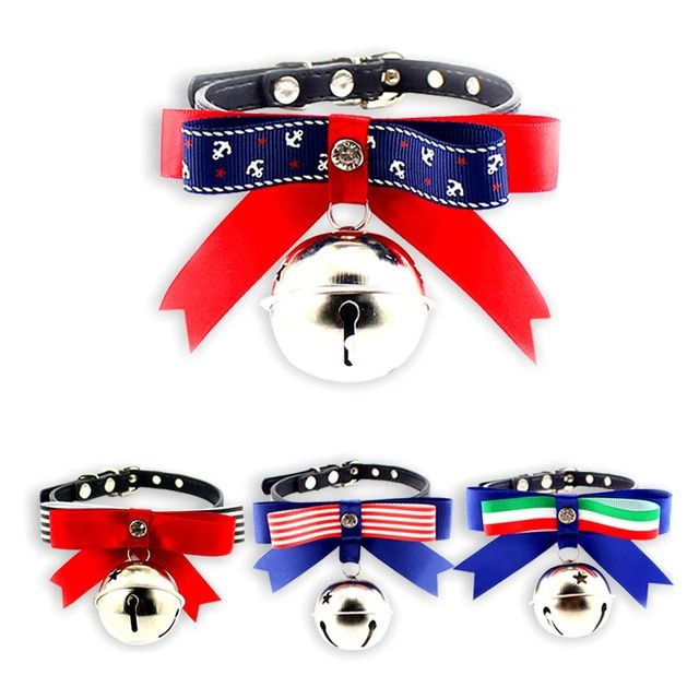 Dog Cat Puppy Pet Flag Bow Tie Collar Neck Tie with Bell Adjustable Size Grooming Accessories for Pet