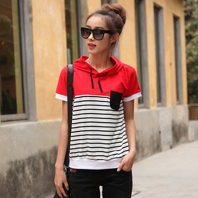 Striped women short-sleeve T-shirt Ladies Hooded Tops&Tees new arrival Tshirts summer female large size hooded Tops cotton TT579