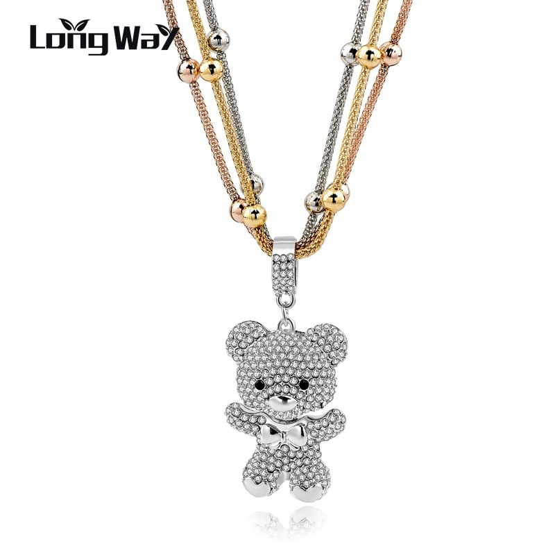 LongWay Gifts MultiLayer Silver Color Bear Pendant Necklaces For Women Crystal Beads Long Statement Necklace Jewelry SNE150786