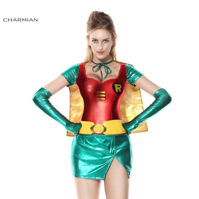 Charmian Halloween Costume for Women Sexy Robin Super Hero Anime Cosplay Carnival Party Fantasias Feminina Para Festa