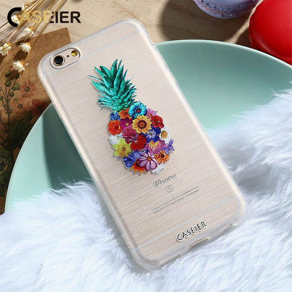 CASEIER Embossed Case For iPhone 7 6 6s Plus 5 SE Flowers Pineapple Watermelon Ice Cream Silicone For Samsung S6 S7 Edge Cover