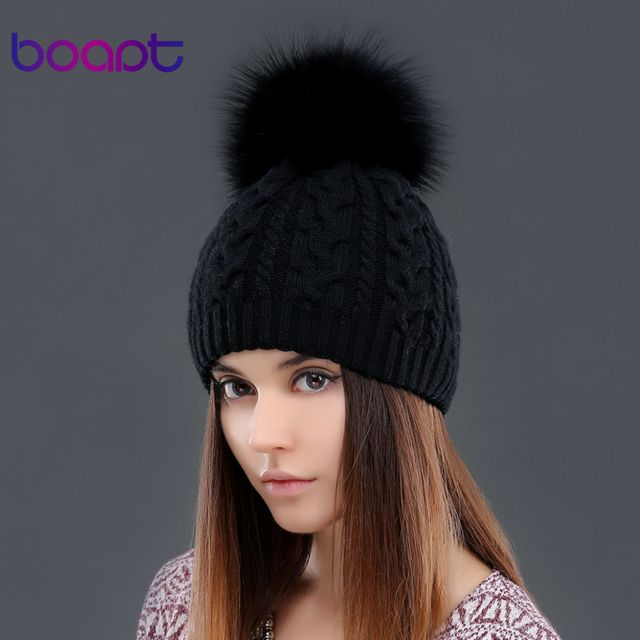 BOAPT cashmere soft thick warm double-deck twist knit caps hats  for women's winter genuine raccoon fur pompons ladies beanie