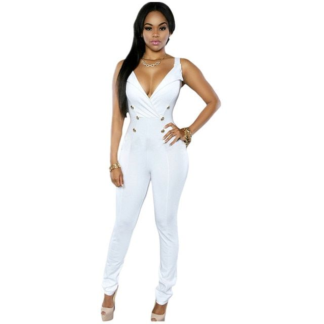 Cfanny 2016 Rompers Womens Jumpsuit Sexy Sleeveless Button Sides Bodycon Jumpsuit Summer Women Jumpsuits and Playsuit ClubWear